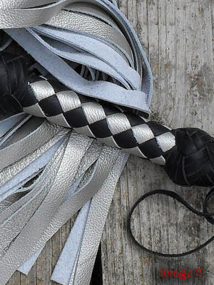 Silver, blue, and black flogger