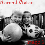 normal vision view of two kids