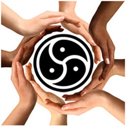 Hands around BDSM symbol to represent acceptance and resources for alternative people