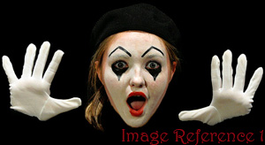 Mime showing hands in non-verbal communication